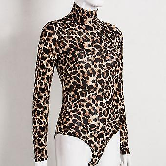 Women Leopard Bodysuit Tops Autumn Long Sleeve Bodycon Skinny Jumpsuits