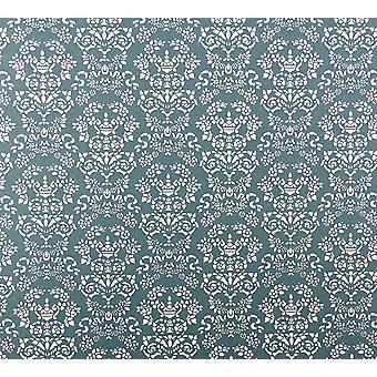 Melody Jane Dolls House Renaissance White On Blue Miniature Print 1:12 Wallpaper