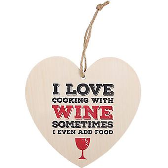 I Love Cooking With Wine Hanging Heart Sign