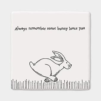East of India Porcelain Square Coaster ' ..some bunny loves you' - Gift