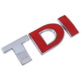 TDI Rear Badge Boot Lid Trunk Emblem Fender Chrome Silver/Red