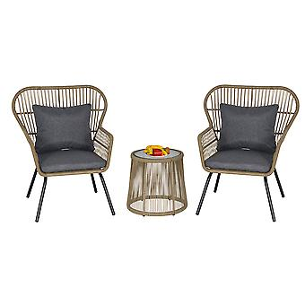 Outsunny 3 PCS Webbed PE Rattan Outdoor Dining Patio Set w/ Cushions Steel Frame Foot Pads 2 Chairs Coffee Table Bistro Garden Seat Coffee Brown