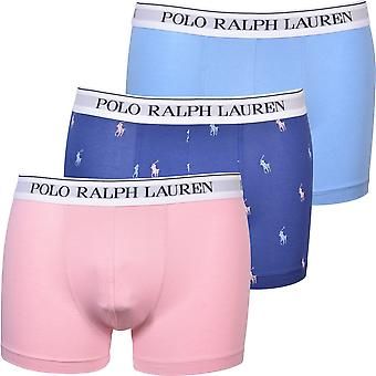 Polo Ralph Lauren 3-Pack Allover Polo & Solid Boxer Trunks, Blue/Pink/Navy