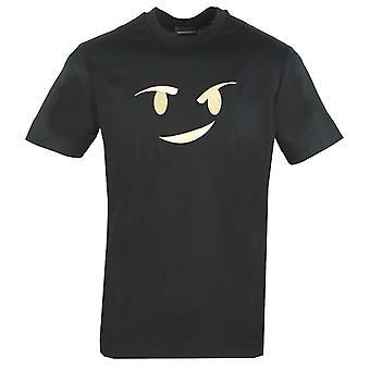 אמפוריו ארמני גדול Emoji לוגו שחור חולצת טריקו