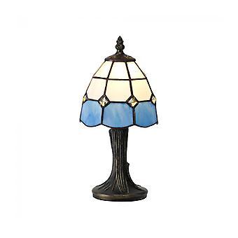 Lámpara De Sobremesa Tiffany Buena 1 Bombilla Blanco / Azul 15 Cm