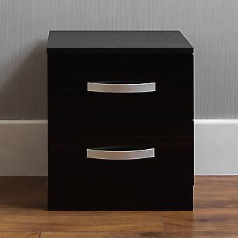 Hulio 2 Drawer Bedside Chest Cabinet High Gloss, Black