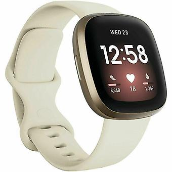 """for Fitbit Versa 3 / Sense Replacement Strap Silicone Band Bracelet Wrist[Small Fits Wrist 5.5"""" - 6.9"""",Ivory]"""