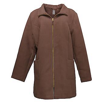 zuda Women's Brushed Coat Zip Front Chestnut Brown A388691