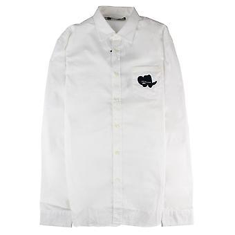 Love Moschino bordado logo espalda L / s camisa blanca