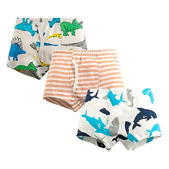 Yunyun Boys Cartoon Dinosaur Shark Stripes Print Three-piece Cotton Poxer Panties