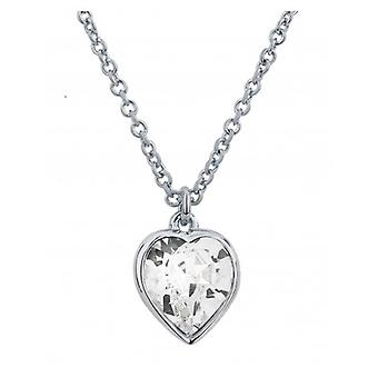 Traveller Heart Pendant With Chain Rhodium Plated With Crystals From Swarovski - 157258 - 582