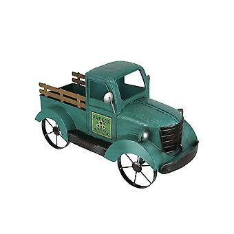 Antiqued Light Blue Metal Vintage Pickup Truck Indoor or Outdoor Planter Plant Pot Stand