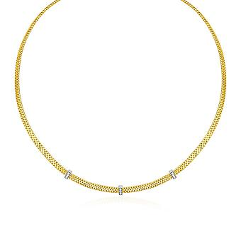 14k Two Tone Gold Basket Weave Necklace with Diamonds