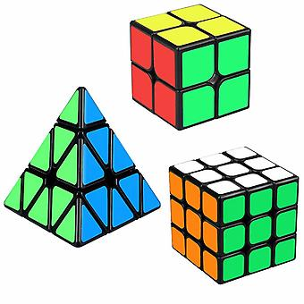 Speed Cube Set, Cube Bundle 2x2 3x3 Pyramid Magic Puzzle Cube Toy For Kids (3 Pack)