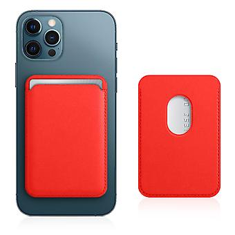Magsafe Card Case for iPhone 12 Leather Covered Magnetic Fastening Red