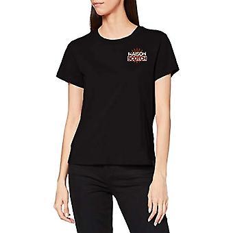 Scotch & Soda Short Sleeve Signature Logo Tee T-Shirt, 0008 Black, L Woman