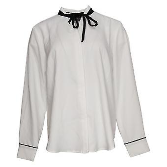 Elizabeth & Clarke Women's Top StainTech With Tie Collar White A353170