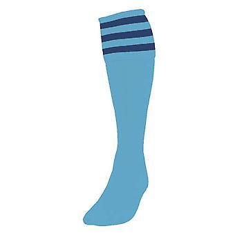 Präzision 3 Streifen Fußball Socken Herren Sky/Navy