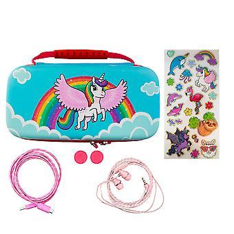 Over the rainbow unicorn 7-in-1 protector kit (nintendo switch lite)