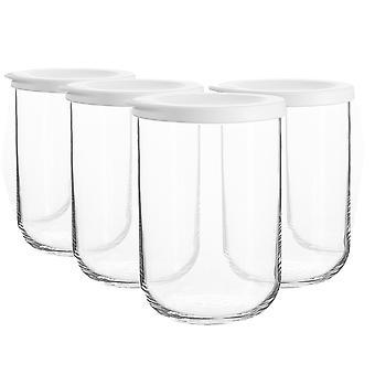 4x Duo Frascos de almacenamiento de vidrio apilables Cocina Contenedor tapa de silicona 1 litro blanco