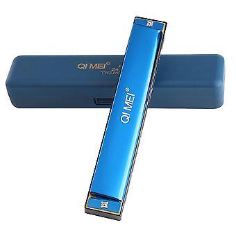 Mund Orgel Instrument Mundharmonika 24 Löcher Akzenttaste von C Mundharmonika Blau