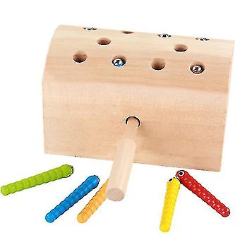 Wooden magnetic Insect Catching Toys, parent-child interactive toy,Improved Hand-eye
