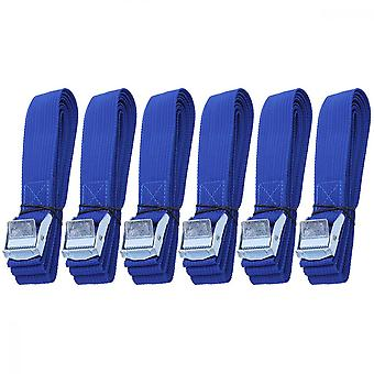 6pcs Polyester Quick Release Lashing With Buckle Tying Straps For Cargo Tie Down Car Roof Rack Luggage Kayak Carrier Moving Canoe Hammock (blue)