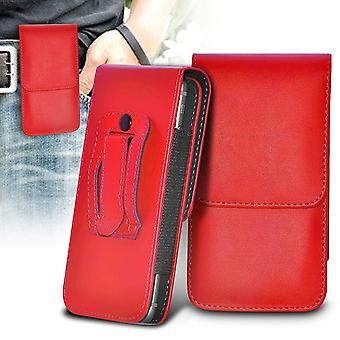 (Red) Nokia 8 Case Vertical PU Lederen Riem Holster Pouch Cover