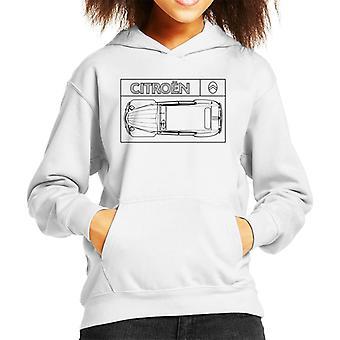 Citroen 2CV Svart diagram Top View Kid's Hooded Sweatshirt