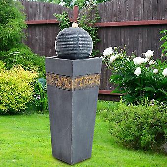 Outdoor Trapez LED Wasserspiel Springbrunnen Marineblau Ball Garten Dekor