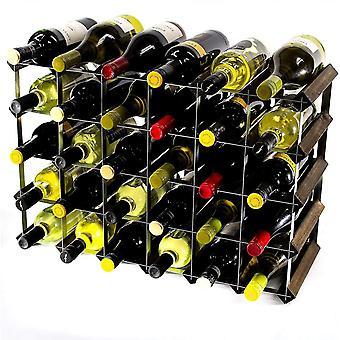 رفوف النبيذ الكلاسيكية 30 6x4 زجاجة البلوط الداكن الخشب الملون والنبيذ المعدني المجلفن رف جاهزة تجميعها
