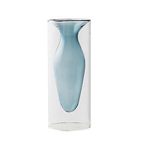 Nordisk design kreativ dubbelmålad glas dekor vaser (Ljusblå)