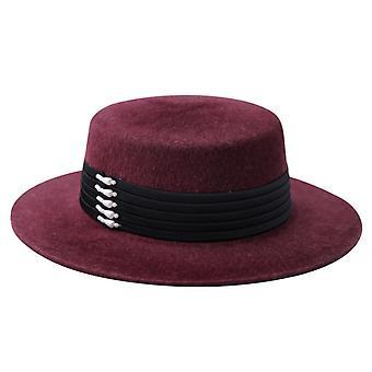 Top Top Fashion Top Hat Feminino Outono e Inverno Versátil Ampla Brim Felt Chapéu De Lã Chapéu