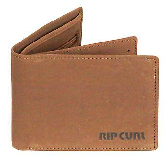 Rip Curl cartera de cuero con CC, nota y moneda ~ Original marrón