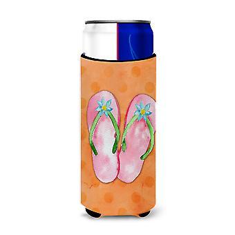 Pink Flip Flops Orange Polkadot Michelob Ultra Hugger for slim cans