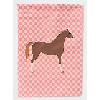 Carolines Treasures  BB7909GF Hannoverian Horse Pink Check Flag Garden Size