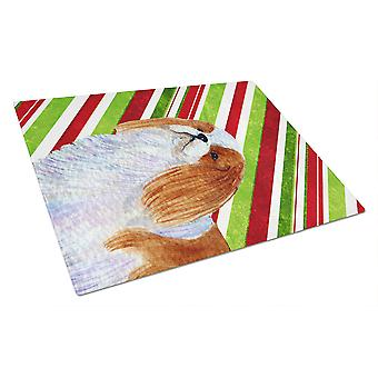 English Toy Spaniel Candy Cane Holiday Christmas Glass Cutting Board Large