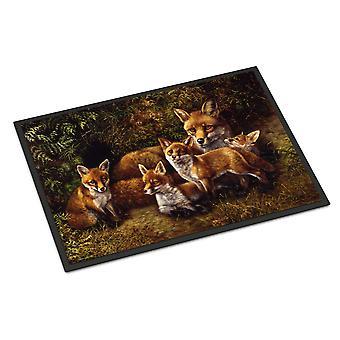 Fox rodziny Lisy przez Daphne Baxter wewnątrz lub na zewnątrz Mat 24 x 36