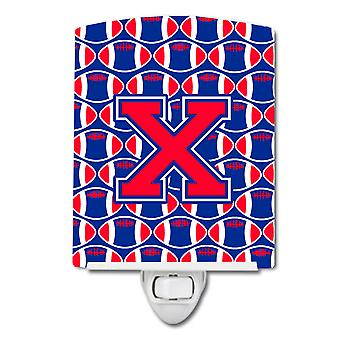 Letter X Football Harvard Crimson and Yale Blue Ceramic Night Light