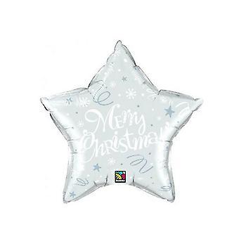 Qualatex Merry Christmas Star Shaped Festive Foil Balloon