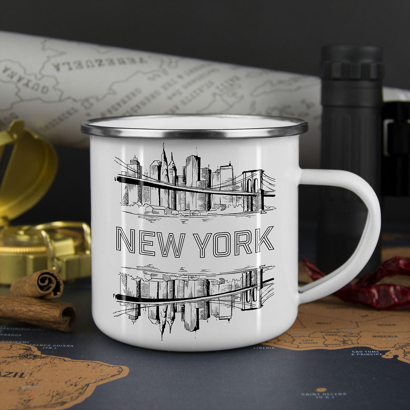 NY City Landschaft Mode neue WhiteTea Kaffee Emaille Mug10 oz | Wellcoda