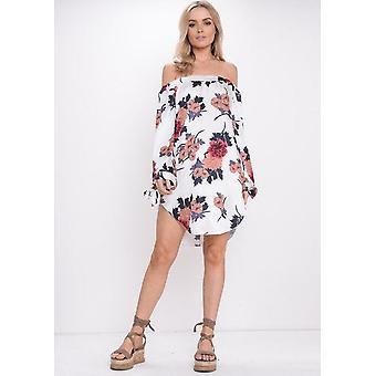 Floral Bardot Off Shoulder jurk oranje