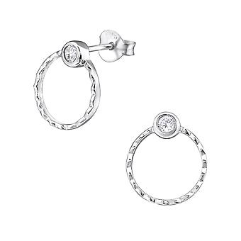 Circle - 925 Sterling Silver Cubic Zirconia Ear Studs - W31405X