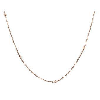 Złota róża 42 + 3 Cm łańcuch Orphelia srebro 925 Kulki ZK-7200/RG