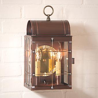 Irvin's Country Tinware Toll House Wall Lantern in Antique Copper