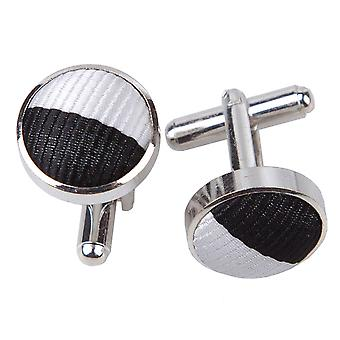 Black & White Striped Cufflinks