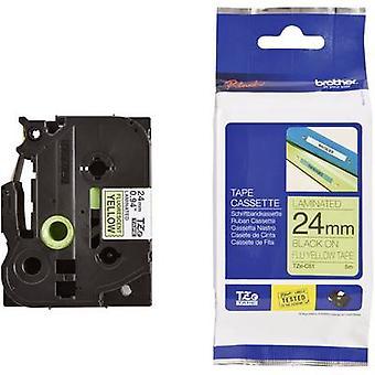 Merking tape (Hei-vis) bror TZe, TZ TZe-C51 Tape farge: gul skrift farge: svart 24 mm 5 m-Signal