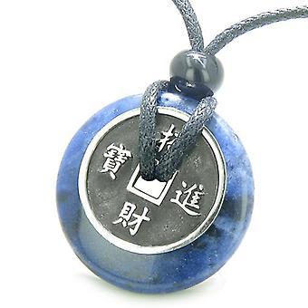 Amulette pièce porte-bonheur charme Donut Sodalite bonne chance pouvoirs vieilli Collier pendentif
