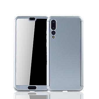 Huawei P20 Pro Handy-Hülle Schutz-Case Full-Cover Panzer Schutz Glas Silber