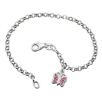 Pulsera plata pulseras guisante de mariposa cadena plata 925 rosa moldeados